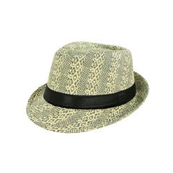 Faddism Men's Green/ Tan Woven Fedora Hat