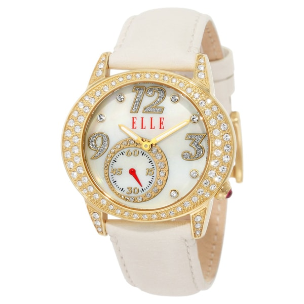 Elle Women's White Leather Strap Watch