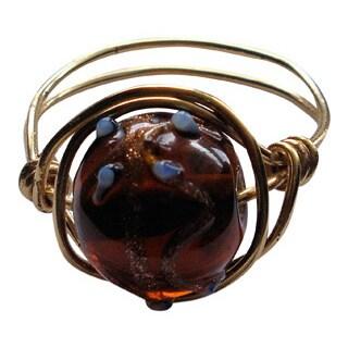 Handmade Brass Earthtone Wrapped Ring