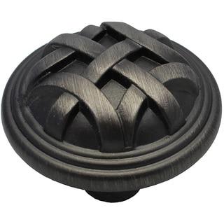 GlideRite 1.25-inch Pewter Round Braided Cabinet Knobs (Case of 25)