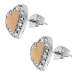Sterling Silver Cubic Zirconia Matte Heart Stud Earring