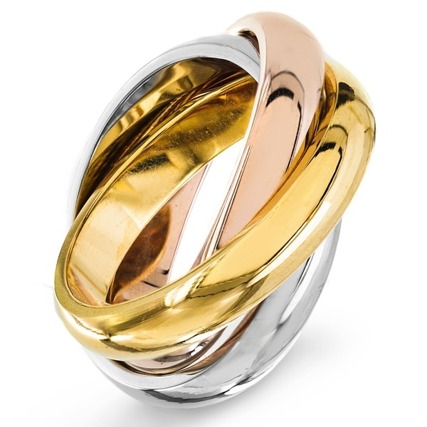 Stainless Steel Polished Tri-color Intertwined Wedding Band Ring - Multicolor