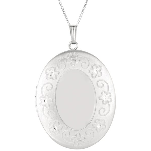 High-polish Sterling Silver Oval-shaped Locket Necklace (18-inch)