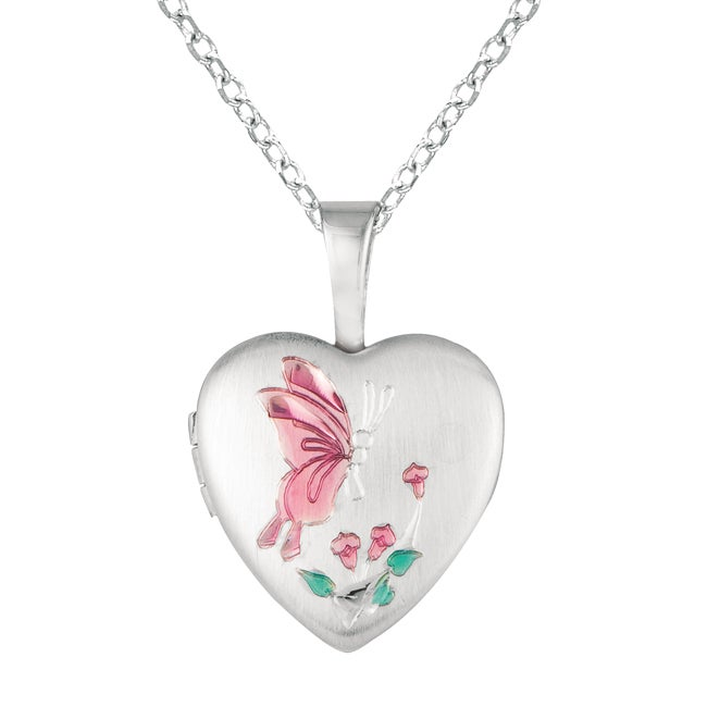 Sterling Silver Butterfly Design Heart Locket Necklace (W...