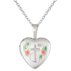 Sterling Silver Cross and Flower Design Heart Locket Necklace