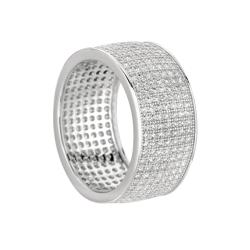 Sterling Silver Clear Cubic Zirconia Eternity Fashion Band - Thumbnail 1