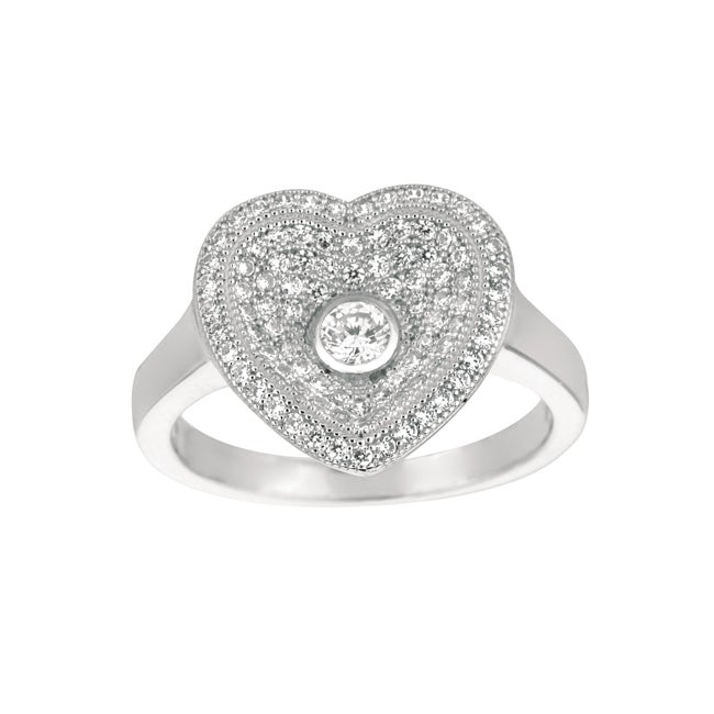 Sterling Silver Clear Cubic Zirconia Heart Fashion Ring