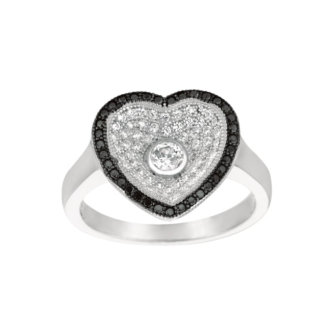 Sterling Silver Clear and Black Cubic Zirconia Heart Fashion Ring