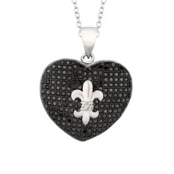 Black-plated Sterling Silver Black Cubic Zirconia Fleur de Lis Necklace