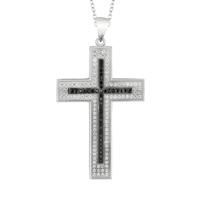 Sterling Silver Black and Clear Cubic Zirconia Cross Necklace