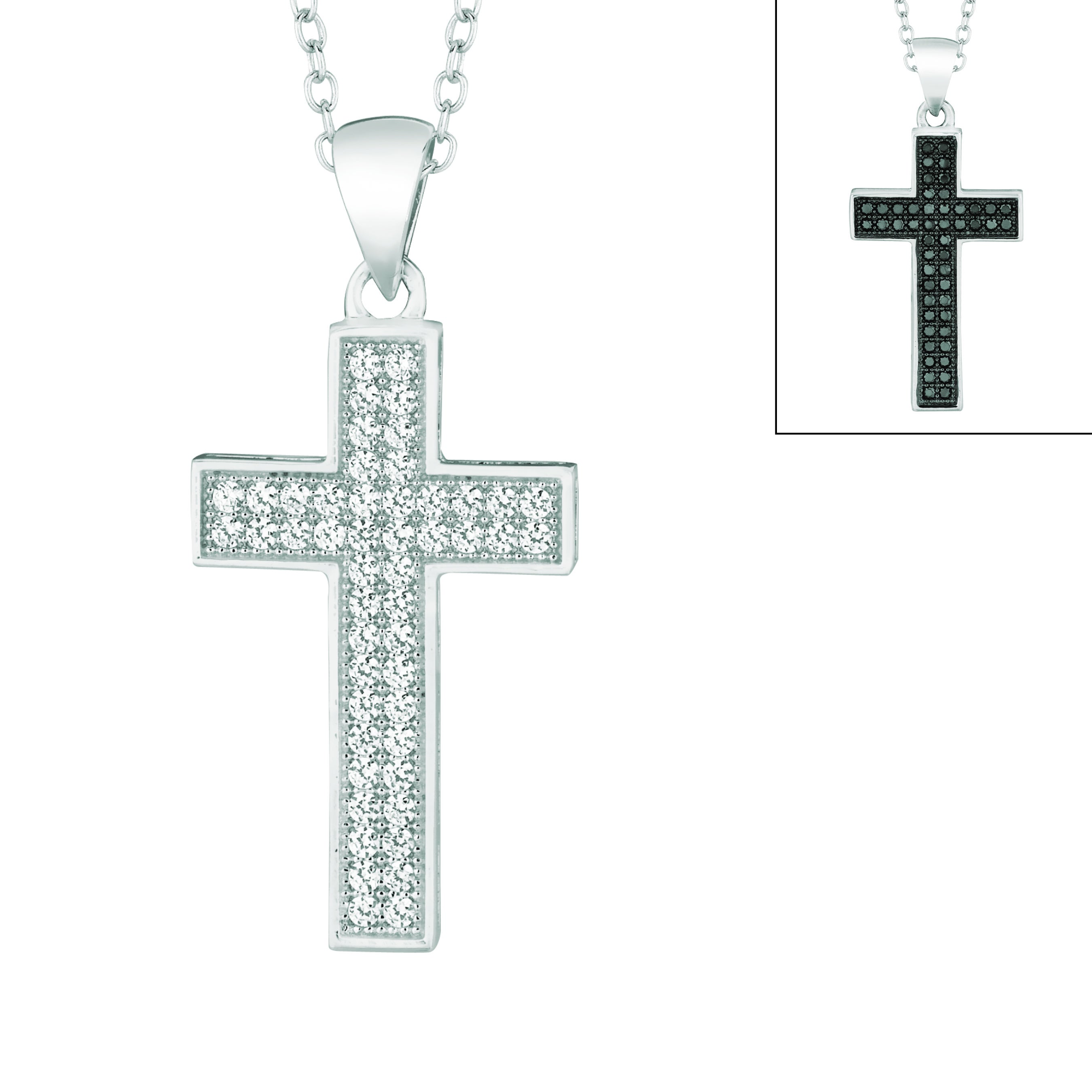 Sterling Silver Clear or Black Cubic Zirconia Cross Necklace