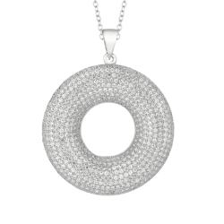 Sterling Silver Clear Cubic Zirconia Open Circle Necklace