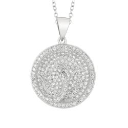 Sterling Silver Clear Cubic Zirconia Circle Necklace