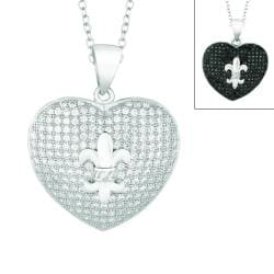 Silver Clear or Black Cubic Zirconia Fleur de Lis Heart Necklace