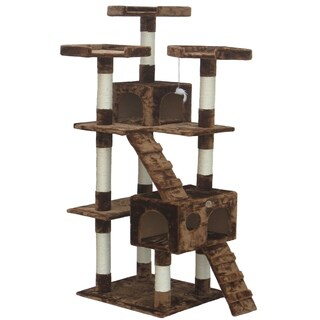 Go Pet Club Brown Faux Fur Uphostered Wood 72-inch Multi-tier Cat Tree