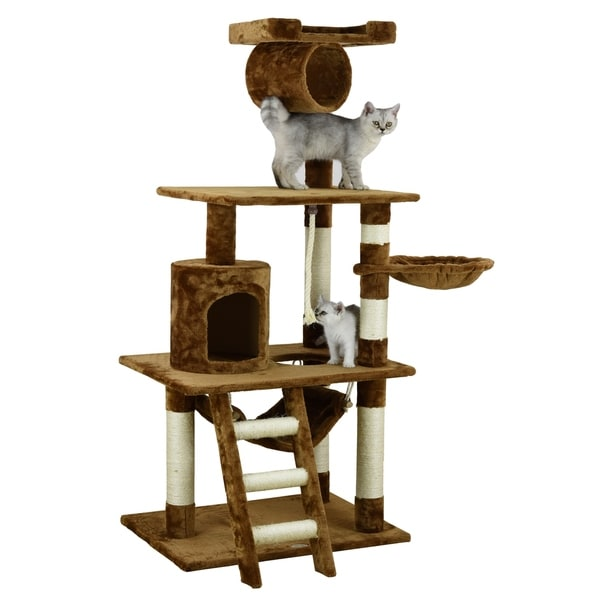 Go Pet Club Multi-level Brown Wood 62-inch Cat Tree
