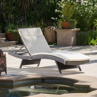 Toscana Outdoor Brown Wicker Adjustable Chaise Lounge with Cushion by Christopher Knight Home