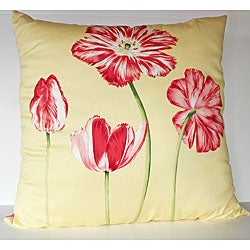 Blooming Floral Yellow 26x26-inch Decorative Pillow