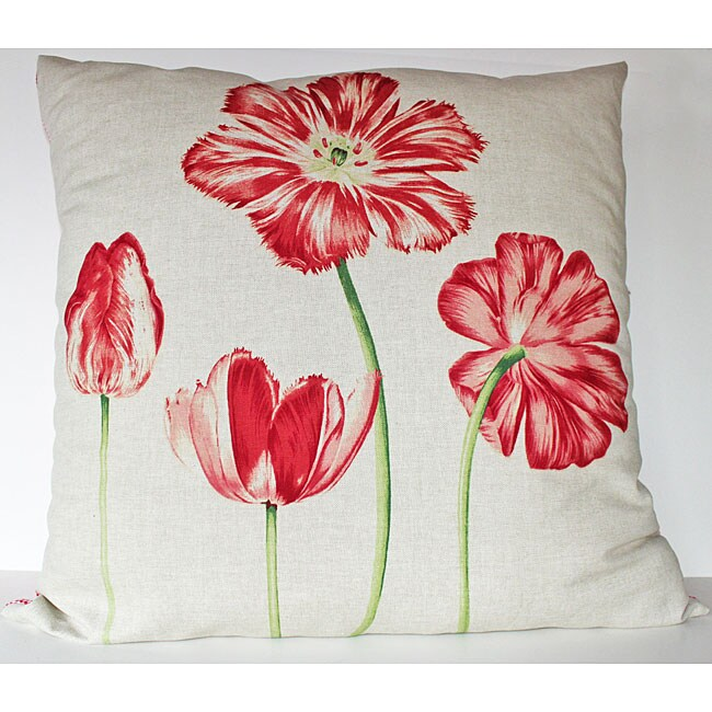 Blooming Floral Linen 26x26-inch Decrorative Pillow