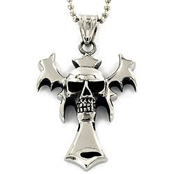 Stainless Steel Skull and Bat Wing Necklace