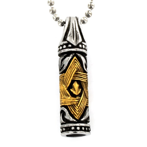 Two-tone Stainless Steel Star of David Vial Necklace