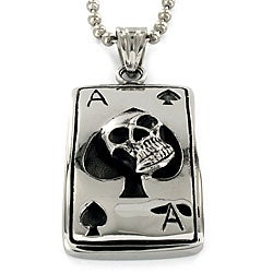 High-polish Stainless Steel Skull and Ace of Spades Pendant Necklace