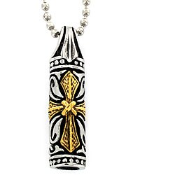Two-tone Stainless Steel Cross Vial Necklace
