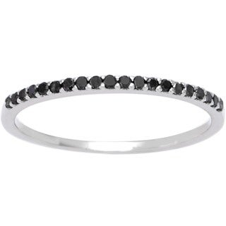 10k White Gold 1/8ct TDW Thin Black Diamond Band