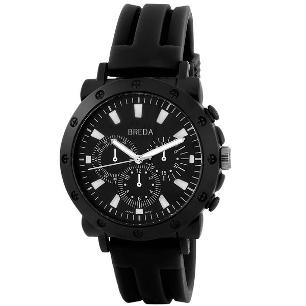 Breda Men's 'Tripp' Black Silicone Strap Watch