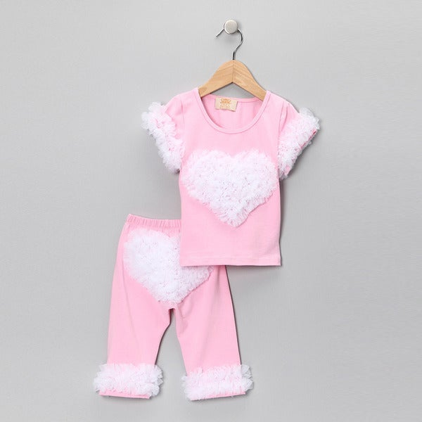 Mia Belle Baby Girls' Ruffled Heart Outfit