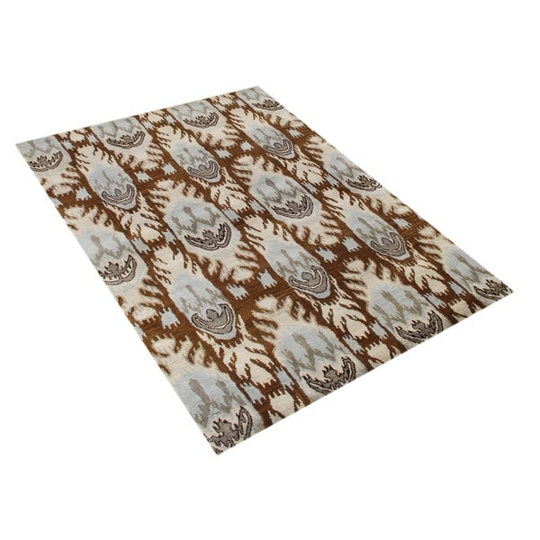 Alliyah Handmade IKAT Brown Sugar New Zealand Blend Wool/Viscose Silk Pile Rug - 5' x 8'