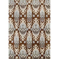 Alliyah Handmade IKAT Brown Sugar New Zealand Blend Wool/Viscose Silk Pile Rug (5' x 8')