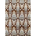 Alliyah Handmade IKAT Brown Sugar New Zealand Blend Wool / Viscose Silk Pile Rug (8' x 10')