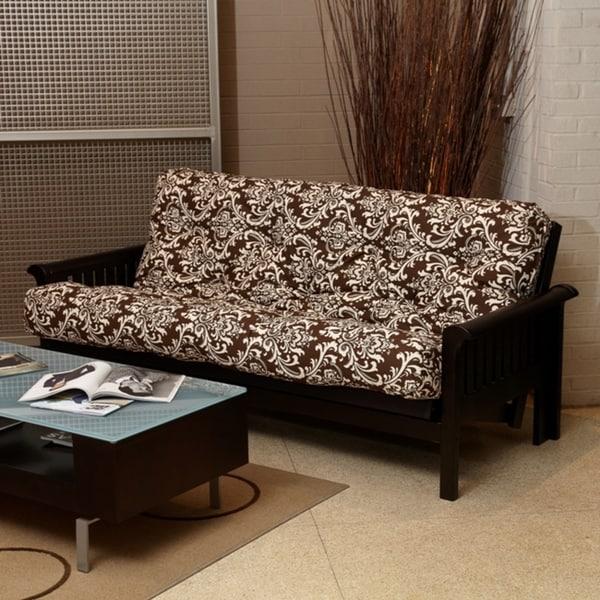 Brown Damask Queen-Size 6-inch Futon mattress