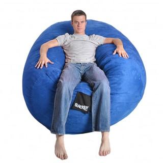 Oval Royal Blue Microfiber and Memory Foam Bean Bag, 6-foot