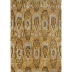 Alliyah Handmade IKAT Tobacco Brown New Zealand Blend Wool/Viscose Silk Pile Rug (5' x 8')