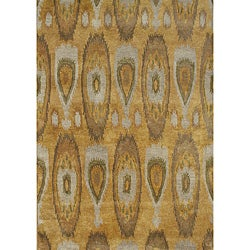 Alliyah Handmade IKAT Tobacco Brown New Zealand Blend Wool/Viscose Silk Pile Rug (8' x 10') - Thumbnail 0