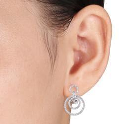 Miadora  14k White Gold 4/5ct TDW Diamond Earrings (G-H, SI1-SI2) - Thumbnail 2