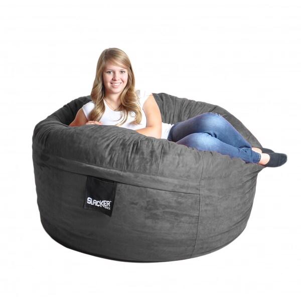 Charcoal Grey 5-foot Microfiber and Memory Foam Bean Bag
