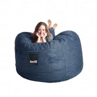 Navy Blue Microfiber and Memory Foam 5-foot Bean Bag