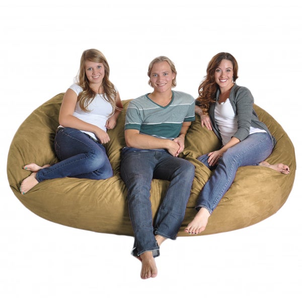 Oval Light Brown 8-foot Microfiber and Foam Bean Bag