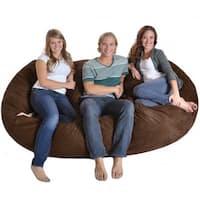 Oval Dark Brown 8-foot Microfiber and Memory Foam Bean Bag