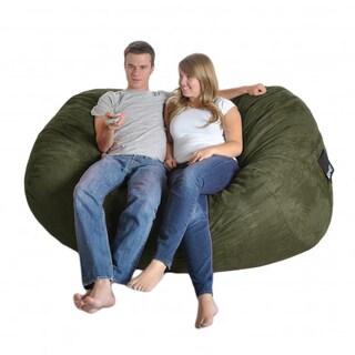 Six-foot Oval Olive Green Microfiber and Foam Bean Bag