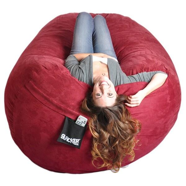 Six-foot Oval Cinnabar Red Microfiber and Memory Foam Bean Bag