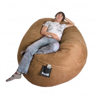 Oval 6-foot Earth Brown Microfiber and Foam Bean Bag