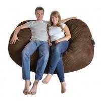Oval 6-foot Dark Brown Microfiber and Foam Bean Bag