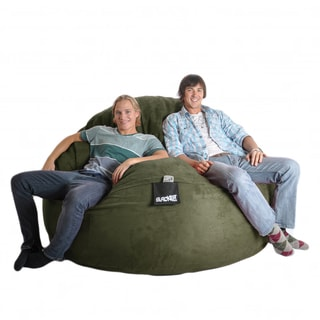 Round 6-foot Olive Green Microfiber and Foam Bean Bag