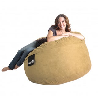 Round Light Brown 4' Microfiber and Memory Foam Bean Bag