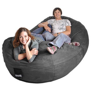 Oval 8 ft. Charcoal Grey Microsuede and Memory Foam Bean Bag