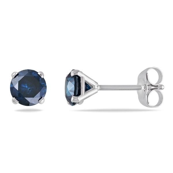 Miadora 14k White Gold 1ct TDW Blue Diamond Solitaire Earrings